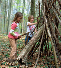 children playing with sticks